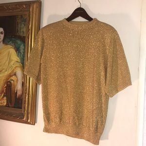 Vintage Gold Lurex ✨ Sparkly Sweater Sz M
